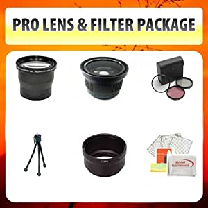 Panasonic Lumix DMC-FZ8 DMC-FZ7 Limited Edition Lens & Filter Set Includes Wide Angle Lens, Macro Lens, 3.6X Telephoto Lens, 3 Piece Filter + Mini Tripod, Lens Cleaning Kit + Tube Adapter + More