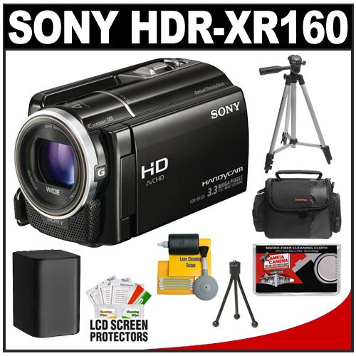 Sony Handycam HDR-XR160 160GB HDD 1080p HD Video Camera Camcorder (Black) with Battery + Case + Tripod + Accessory Kit