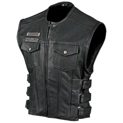 Amazon.com: STREET & STEEL Anarchy Leather Motorcycle Vest - LG, Black