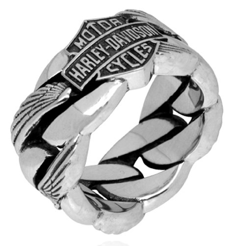 Harley-Davidson .925 Silver Heavy Wing Chain Mens Ring (9)