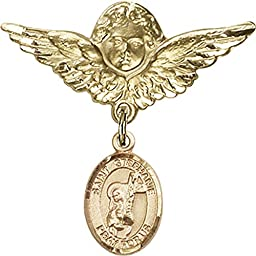 Gold Filled Baby Badge with St. Stephanie Charm and Angel w/Wings Badge Pin 1 1/8 X 1 1/8 inches