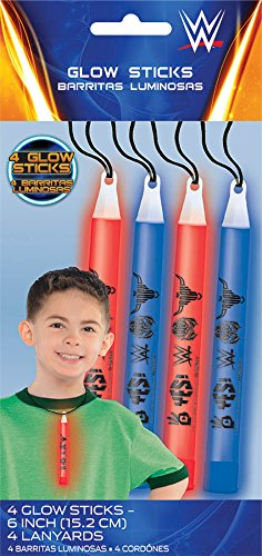 Amscan Grand Slammin' WWE Party Lanyards Glow Stick (4 Piece), Red/Blue, 6""