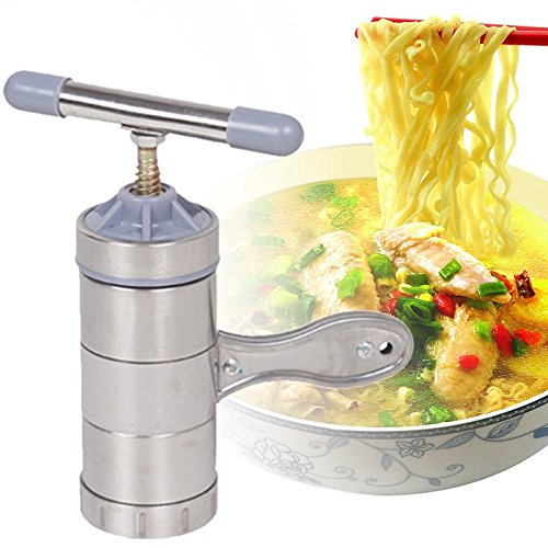 Allyseed DIY Stainless Steel Kitchen Noodle Press Machine Machine Vegetable Fruit Juicer Maquina Pasta Maker with 5 Noodle Mould (Light silver)