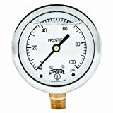 Winters PFQ Series Stainless Steel 304 Single Scale Liquid Filled Pressure Gauge with Brass Internals, 0-100 psi, 2-1/2