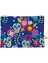 "Kess In House Everything Bag Flat Pouch By Anneline Sophia 8.5 X 6 Inches, ""Day Of The Dead"" Blue Aztec (As1010..."