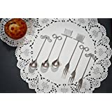NestRoots Extremely Charming Silver Finish 6 Pieces Hat Glass Moustache Shape Stainless Steel Mini Fruit Fork...