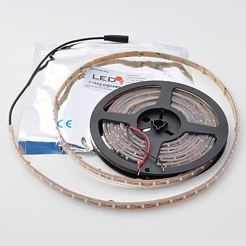 LEDwholesalers 16.4 Feet 300xSMD3528 LED Flexible Strip with Waterproof Sleeve LED Ribbon 5 Meter Reel 12 Volt, White 2047WH