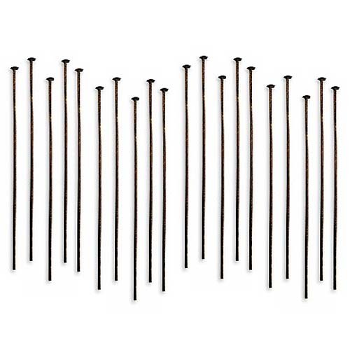 Vintaj Natural Brass Head Pins 21 Gauge 2 Inch (20)