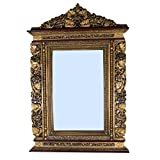 Asian Treasures Handpainted Old Gold Wooden Viewing Miror (Colour: Antique Gold, Material Type: Wood)