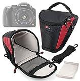Black and Red Water Resistant Carry Case Bag with Belt Loop for Panasonic Lumix DMC-FZ 48 EF-K - DMC-FZ70 - DMC-FZ72EB-K - DMC-G5HEB-K - DMC-G5 - DMC-G10 - DMC-GF3 - DMC-GF5 - DMC-GF5KEB-K - G Compact System Camera with Interchangeable Lens - G1 Digital SLR Camera - DMC-LZ30E-K - DMC-LZ30E-R - DMC-FZ1000 - by DURAGADGET