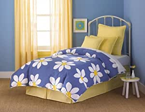 7 pc Twin Size Bedding Bed in a Bag Set - Southern Textiles Daisy Blue Cozy Kids Premium Pack