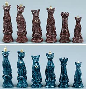 Faux Marble Cats Themed Chess Set Toys Games