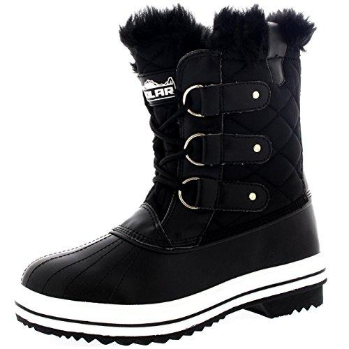 Womens Snow Boot Nylon Short Fur Rain Winter Waterproof Snow Warm Boots - Black - 9 - 40 - CD0030