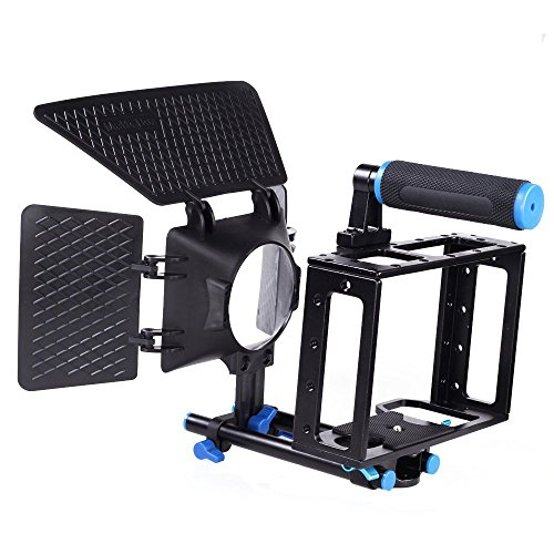 Fotga Dslr Film Movie Use Matte Box Sunshade+aluminum Cage Kit for Canon 5d Mark Ii 7d Dslr Camera W/15mm Rod Rig Top Handle (5d Mark Ii Rig compare prices)