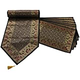 "Mela Banaras Handweaved Fabric Exclusive Table Runner 16""x72"" with 6 Place mats"