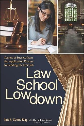 Law School Lowdown: Secrets of Success from the Application Process to Landing the First Job written by Ian E. Scott  Esq.  J.D.
