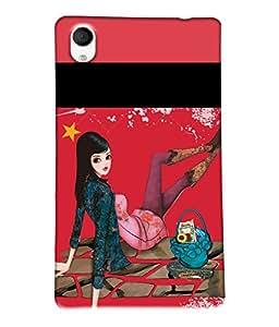 Fuson Shopping Girl Back Case Cover for SONY XPERIA M4 AQUA - D3721