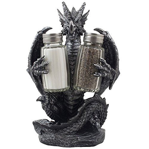 Mythical Dragon Salt and Pepper Shaker Set with Holder Figurine for Medieval & Fantasy Bar or Kitchen Table Decor Sculptures and Gothic Gifts