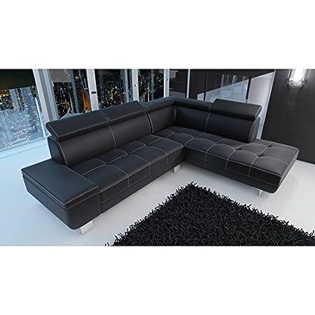 Canapé d'angle moderne et design DAYLON en simili cuir noir