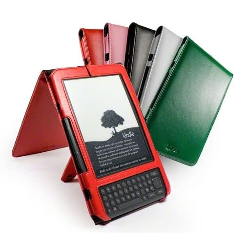 Tuff Luv Traditional flip leather case cover & stand for  Kindle 3 / Global Wireless 6 inch / 15 cm   Red