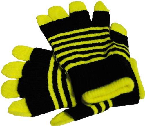 Immerschön 3 in 1 - variables Handschuh-Set in gelb fingerlose Handschuhe für kühle Tage