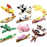 6pc Set Of Slingshot Flingshot Flying Animals With Sound Monkey Pig Chicken Cow Duck Frog