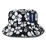 Hibiscus Floral Unconstructed Cotton Bucket/Fishermans Hat by Decky (Black, Large/X-Large)