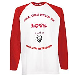 Love and Dogs Collection 1, Fruit of the Loom Mens Long Sleeve Baseball White / Red Tee T shirt with Colourful Design. Sizes S M L XL 2XL.