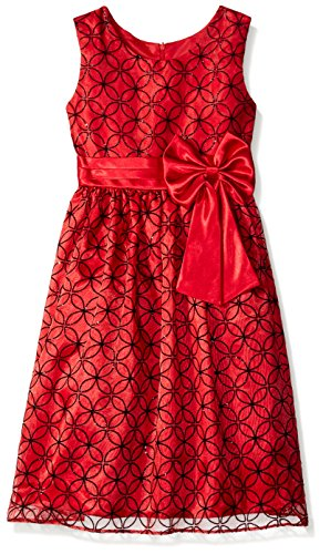 Jayne Copeland Big Girls' Flocked Organza Dress, Red, 7