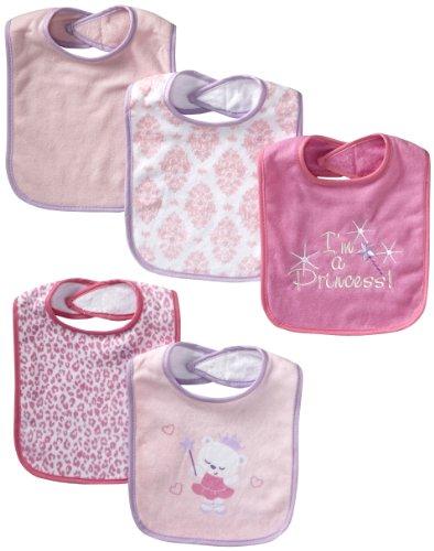Vitamins Baby Baby-Girls Newborn I'M A Princess 5 Pack Bibs, Pink, One Size