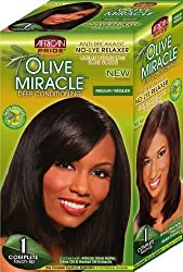 African Pride Olive Miracle Deep Conditioning No-Lye Relaxer - Regular Kit (Pack of 2)