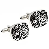 Black and Silver Engraved Vine Design Cufflinks