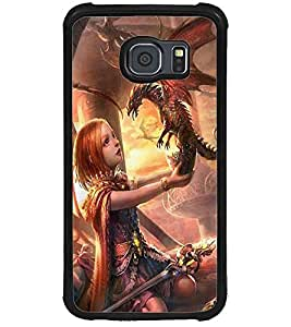 ColourCraft Cute Girl with Baby Dragon Design Back Case Cover for SAMSUNG GALAXY S6
