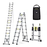 17ft 5m Nordstrand Telescopic Multipurpose Ladder - Foldable & Extendable - Aluminium A Frame 8 8 Steps - with Carry Bag
