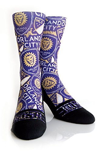 Rock 'Em Apparel MLS Orlando City Soccer Club Custom Athletic Crew Socks (Logo Sketch, S/M (6-8.5)) (New York City Football Club Flag compare prices)