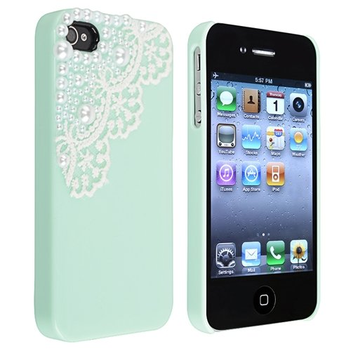 Hand Made Lace and Pearl Green Hard Case Cover