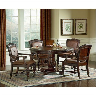 Buy Low Price Steve Silver Furniture Antoinette Pedestal Dining Table in Multi-Step Rich Cherry (AY400T / AY400B)