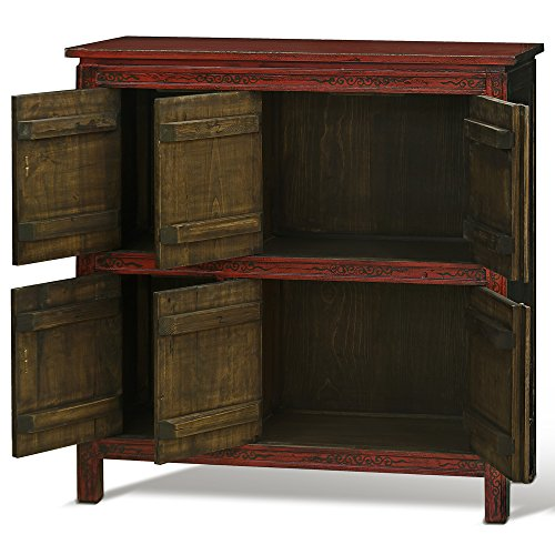 China Furniture Online Elmwood Cabinet, Hand Painted Floral Motif Tibetan Style High Chest Distressed Yellow and Red 1