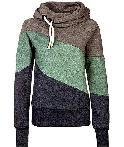 URqueen Women's Color Block Fleece Hooded Sweatshirt Hoodie Top Green S