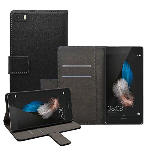 Membrane - Nero Portafoglio Custodia per Huawei P8 Lite - Wallet Flip Case Cover + 2 Pellicola Protettiva