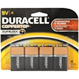 Duracell 9Vx4 Coppertop 9V Alkaline Batteries, 4 Count