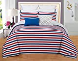 Couture Home Collection Vibrant Reversible Printed Extra Soft Organic Comfort 100% Cotton 3 Piece Duvet Set in Storage Box (Queen, Red White Blue Stripe)