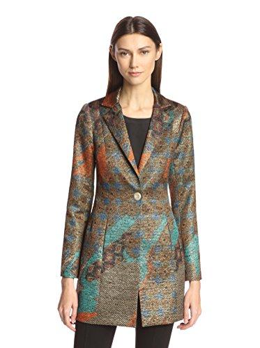 Bigio Women's Metallic Jacquard Long Jacket