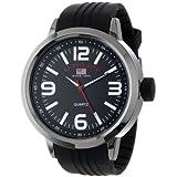 Reloj U.S. Polo Assn. Sport US9054 para hombre, negro con pulsera de caucho.