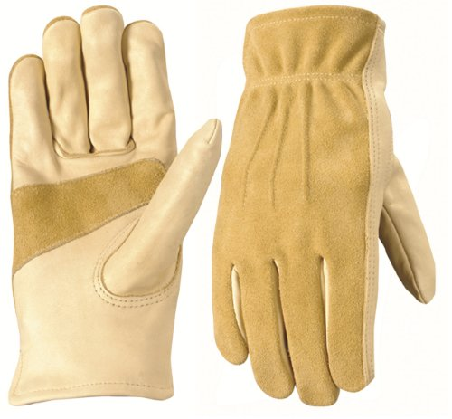 Wells Lamont 1124M Work Gloves, Grain/Split Palomino Cowhide, Keystone Thumb, Palm Patch, Leather Bound, Medium