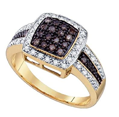 Women's White and Brown Diamond 0.50CTW 10K Yellow Gold Fashion Ring GND66786