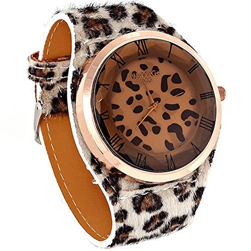 Oversized Women'S Leopard-Print Leatheroid Strap Wrist Watch Ligh Brown