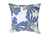 Balanced Design Hand Printed Linen/Cotton Pillow Alex, 16 by 16-Inch, Cobalt