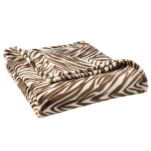 The Big One® Zebra Print Plush Oversized Throw -Brown front-484820