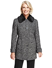 Classic Faux Fur Collar Textured Coat with Wool